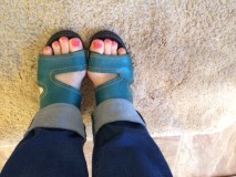 Feet in teal sandals pic